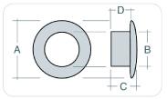minuteria metallica tabella misura occhielli